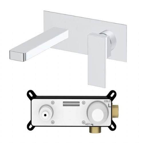 Abacus Plan Wall Mounted Basin Mixer Tap With Ez Box - Chrome
